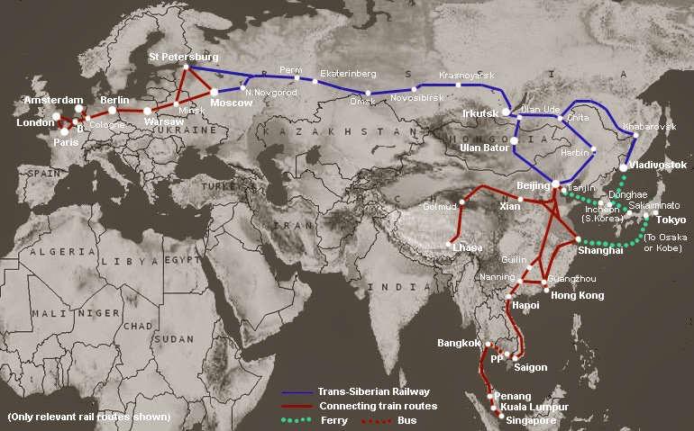 Tren transiberiano mapa